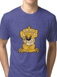 king crown old opa scepter sitting Teddy comic cartoon sweet cute Tri-blend T-Shirt