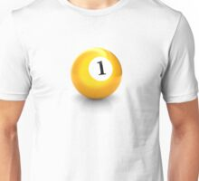 billiard pool ball with number one solid yellow Unisex T-Shirt
