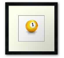 billiard pool ball with number one solid yellow Framed Print
