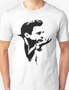 johnny cash thinking art black and white T-Shirt