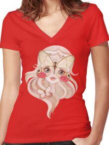 Merolina Moth Girl Women's Fitted V-Neck T-Shirt