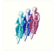 Albert Einstein by bike Art Print