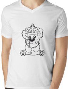king crown old opa scepter sitting Teddy comic cartoon sweet cute Mens V-Neck T-Shirt