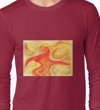 Red Dancer Abstract Art Long Sleeve T-Shirt