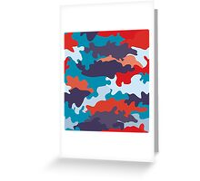Bright blue color style camouflage pattern Greeting Card