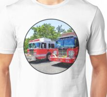 Two Fire Engines in Front of Firehouse Unisex T-Shirt