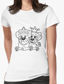 king queen couple couple love love prince princess crown old opa zepter Teddy Bear comic cartoon sweet cute Womens Fitted T-Shirt