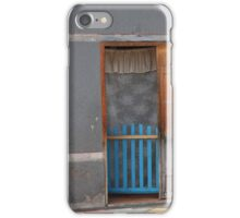 Blue Gate and Curtain in a Door iPhone Case/Skin