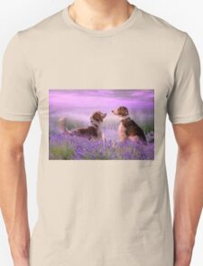 Welshies in the lavender field...... T-Shirt