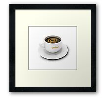 coffee cup with Internet cafe or online services symbol Framed Print