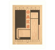 Oaks Theater - 1941 (Orange) Art Print