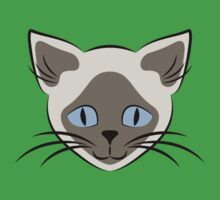 Blue Eyed Siamese Cat Face Graphic Kids Tee