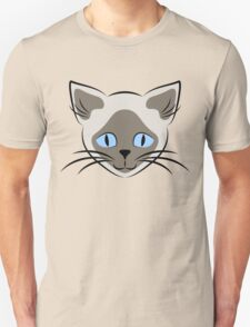 Blue Eyed Siamese Cat Face Graphic T-Shirt