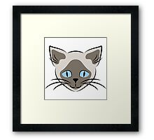 Blue Eyed Siamese Cat Face Graphic Framed Print