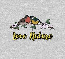 Small birds on tree branch Vintage Dictionary Art Love Nature Pullover