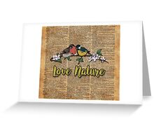 Small birds on tree branch Vintage Dictionary Art Love Nature Greeting Card