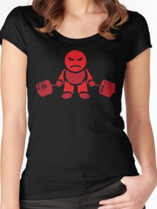 Cute Weightlifting Robot - Deadlift (Red) Women's Fitted Scoop T-Shirt