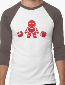 Cute Weightlifting Robot - Deadlift (Red) Men's Baseball ¾ T-Shirt
