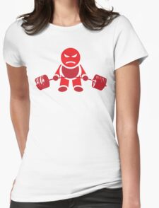 Cute Weightlifting Robot - Deadlift (Red) Womens Fitted T-Shirt