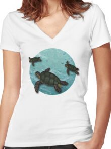 All Three Together Seaturtle Art Women's Fitted V-Neck T-Shirt