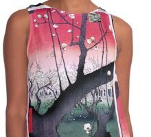 Japanese Print: Cherry Blossoms - Red Contrast Tank
