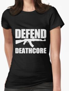 Defend Deathcore - White Womens Fitted T-Shirt