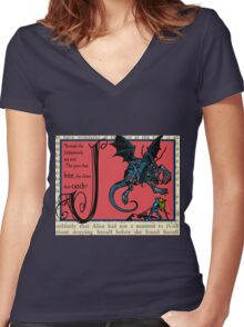Alice in Wonderland and Through the Looking Glass Alphabet J Women's Fitted V-Neck T-Shirt