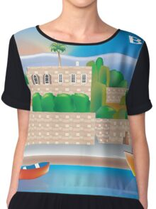 Beirut- Skyline Illustration By Loose Petals Chiffon Top