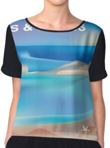 Turks & Caicos- Skyline Illustration By Loose Petals Women's Chiffon Top