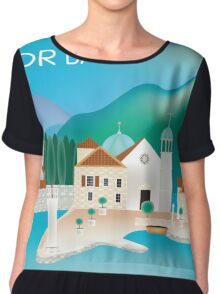 Kotor Bay- Skyline Illustration By Loose Petals Women's Chiffon Top