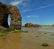Arch Rock, Perranporth Beach by Rod Johnson