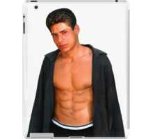 Sexy young man in a shirt with a naked torso iPad Case/Skin