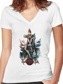 Bayonetta - Witching Women's Fitted V-Neck T-Shirt