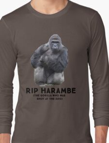 RIP HARAMBE -  BLACK TEXT Long Sleeve T-Shirt