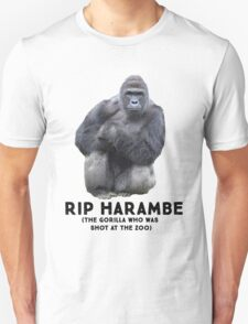 RIP HARAMBE -  BLACK TEXT Unisex T-Shirt