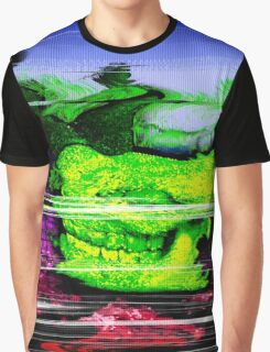 Retro Glitch Rhino Skull Graphic T-Shirt