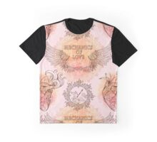 Seamless pattern of wings, heart and clockwork in steampunk style. Graphic T-Shirt