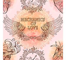 Seamless pattern of wings, heart and clockwork in steampunk style. Photographic Print