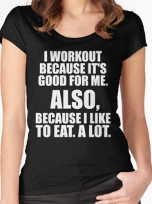I Workout Because I Like To Eat Women's Fitted Scoop T-Shirt
