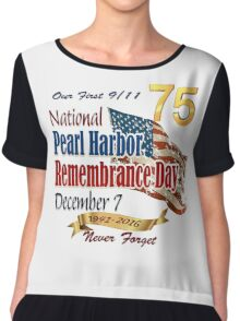 Pearl Harbor Day 75th Anniversary Logo Chiffon Top