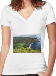 Waipio Valley Women's Fitted V-Neck T-Shirt