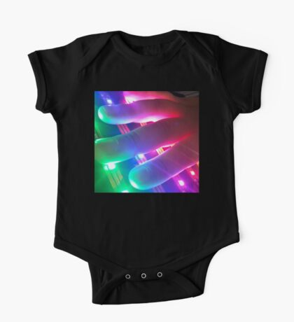 Hand Touching Colorful Lights One Piece - Short Sleeve