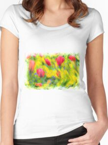 English Summer Flowers Pastel Women's Fitted Scoop T-Shirt