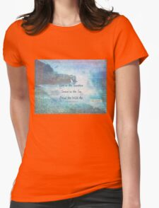 Emerson Quote - Live in the Sunshine Swim in the Sea Drink the Wild Air - nautical beach art Womens Fitted T-Shirt