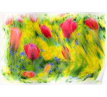 English Summer Flowers Pastel Poster