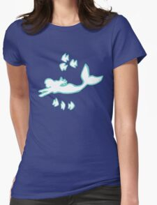 Mint and White Mermaid Silhouette Art Womens Fitted T-Shirt