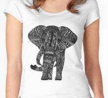 Zentangle Elephant Women's Fitted Scoop T-Shirt