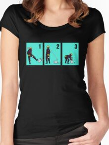 Ninja + Trash Can (Black Lineart) Women's Fitted Scoop T-Shirt