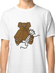 boy cuddling stuffed animal sitting cute little teddy thick sweet cuddly comic cartoon Classic T-Shirt