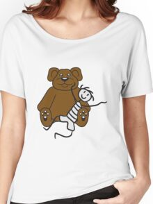 boy cuddling stuffed animal sitting cute little teddy thick sweet cuddly comic cartoon Women's Relaxed Fit T-Shirt